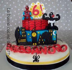"""La buona cucina di Katty: Torta Spiderman e Venom - """"Spiderman and Venom cake"""""""
