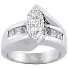Marquise Diamond Bridge Engagement Ring Setting in 14K White Gold 1.00 tcw.