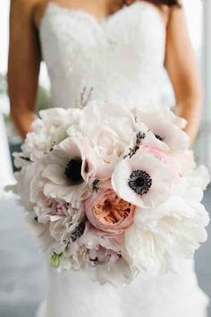July Wedding Flower Bouquet Bridal Flowers Arrangements Bride White Anemone Peach Peonies Pink Roses #aromabotanical