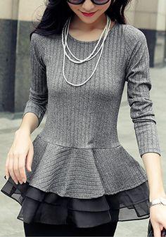 Grey Long Peplum Top- Long Sleeves Grey Long Peplum Top