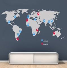 World map decal large wall sticker with pins by vinylimpression world map with pins large world map vinyl wall sticker world map wall sticker gumiabroncs Choice Image