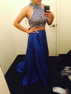2015 Beading Prom Dresses, V-Neck Floor-Length Prom Dresses, Real Made Evening Dresses,Chiffon Two-Pieces Evening Dresses, Evening Dresses On Sale