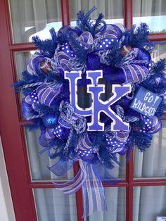 Kentucky Wildcat Fan Deco Mesh Door Wreath by CrazyboutDeco, $69.00