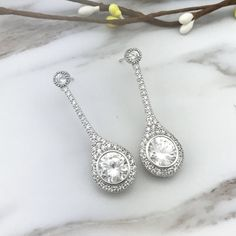 Buy Women's Round Cubic Zirconia Wedding Bridal Drop Earrings Dangle Silver Tone - white - and Find Large Selection of Designer Jewelry at Best Prices Designer Earrings, Luxury Jewelry, Dangle Earrings, Dangles, Jewelry Design, Bridal, Silver, Gifts, Stuff To Buy