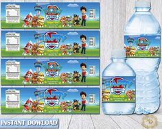 Paw Patrol Bottle Labels.Paw Patrol Labels.Water Bottle