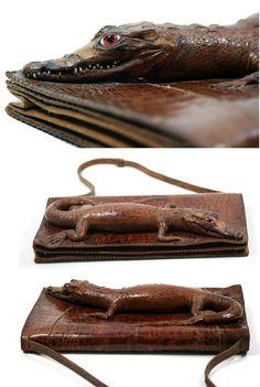 19af2e552087 1940s 1950s Vintage Alligator Purse Clutch. Brown.  CrocodilesAlligatorsLeather InteriorSnake ...