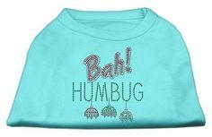 Bah Humbug Rhinestone Dog Shirt Aqua XL (16)