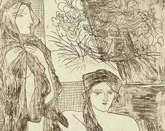 Picasso 'Rembrandt and two women (plate 35 of the Vollard Suite) (January 1934)