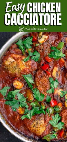 You'll love this hearty, easy chicken cacciatore recipe with mushrooms and bell peppers in a flavorful tomato sauce. Fall apart tender chicken with all the comforting aromtics and Italian flavors the family loves. You can make it stovetop or in your crockpot. Tips & video included. #chicken #chickencacciatore #italianfood #italianrecipes Easy Mediterranean Recipes, Mediterranean Chicken, Mediterranean Cookbook, Mediterranean Style, Cacciatore Recipes, Chicken Cacciatore, Homemade Spagetti Sauce, Greek Chicken And Potatoes, Cooking Recipes