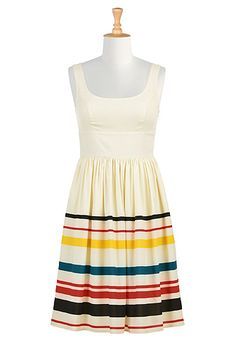 This Vibrant stripe hem crepe dress from eShakti would be a great debate dress with a suit jacket!
