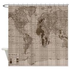 Vintage World Map Shower curtain- minimalist travel decor - home - Bathroom - maps, antique brown, beige