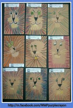 LeRoy Neiman inspired lions. 2nd and 3rd grade drew these from a simple set of instructions. They totally had fun. The whole room got quiet while they worked on these. http://m.facebook.com/WMPpurplecrayon