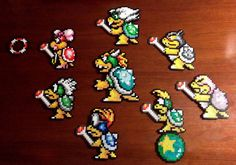 Bowser and Koopaling 8 Bit Characters Inspired from by EBPerler, $15.00