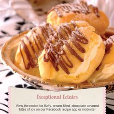 Celebrate an afternoon tea with a tray of cream-filled eclairs. Fill with whipped cream when cool and drizzle melted chocolate over the top! Best Cookie Recipes, Sweet Recipes, Baking Recipes, Cake Recipes, Dessert Recipes, Yummy Recipes, Recipies, Eclair Recipe, Delicious Desserts