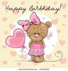 Cute Cartoon Teddy Bear Girl with a balloon