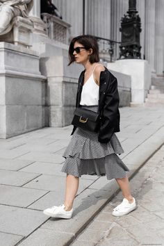 Gingham Skirt + Bomber Jacket I More on viennawedekind.com
