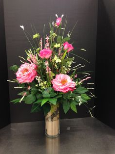 Tall pink rose traditional arrangement