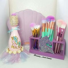 Setting up the glam room how cute does our Limited edition Unicorn Brush Holder looks next to Unicorn Room Decor, Unicorn Rooms, Unicorn Bedroom, Cute Makeup, Diy Makeup, Makeup Tools, Makeup Supplies, Makeup Ideas, Unicorn Brush