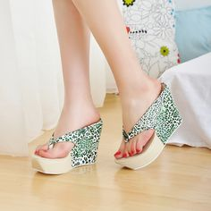 green sparkly platform flip flops