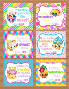 A personal favorite from my Etsy shop https://www.etsy.com/listing/261583109/personalized-shopkins-girls-valentine