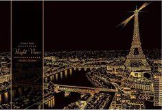 Scratch Book Night View Europe Paris Berlin Praha Cologne + Stick Fun Gift DIY