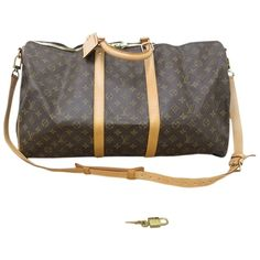 Pre-owned Louis Vuitton Keepall 55 Bandouliere M41414 Travel Bag ($1,050) ❤ liked on Polyvore featuring bags, luggage and none