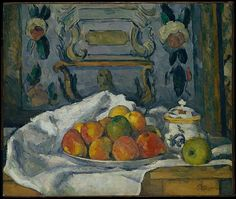 Dish of Apples Artist: Paul Cézanne (French, Aix-en-Provence 1839–1906 Aix-en-Provence) Date: ca. 1876–77 Medium: Oil on canvas Dimensions: 18 1/8 x 21 3/4 in. (46 x 55.2 cm) Classification: Paintings Credit Line: The Walter H. and Leonore Annenberg Collection, Gift of Walter H. and Leonore Annenberg, 1997, Bequest of Walter H. Annenberg, 2002 Accession Number: 1997.60.1