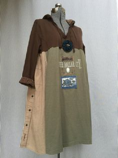 Upcycled Rustic Hoodie Tunic Silver Dollar by SimplyCathrineAnn