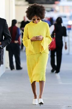 At The End Of Every Rainbow Is Solange Knowles #refinery29  http://www.refinery29.com/2016/01/101954/solange-street-style-pictures#slide-28  Comfort and taste? Okay, we see you....