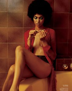 Joan Smalls, doing her nails..