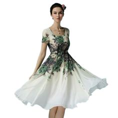 Women flower print dress short sleeve ladies knee length chiffon dress