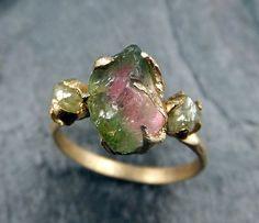 Raw Watermelon Tourmaline Diamond Gold Engagement by byAngeline