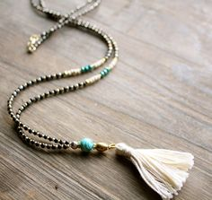 Long Tassel Necklace, Cream Teal Black Gold Silver, Boho Layering Necklace, Mixed Media on Etsy, $28.00