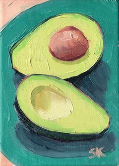 green avocado kitchen art oil painting giclee print - 5 x 7 - Avocado Blues