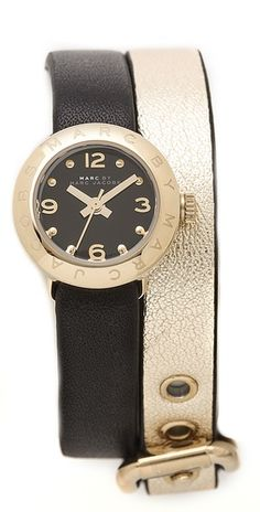 Marc Jacobs Amy Double Wrap Leather Watch