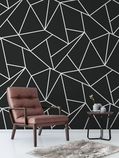 black-and-white-geometric-wallpaper-the-perfect-addition-to-your-home-or-office-interior-available-as-a-self-adhesive-wallpaper-which-easy-to-app/ SULTANGAZI SEARCH Bedroom Wall Designs, Room Ideas Bedroom, Bedroom Decor, Wall Decor, Geometric Wallpaper Black And White, Geometric Wall Paint, Black Wallpaper Bedroom, Wall Wallpaper, Adhesive Wallpaper