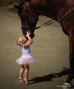 beautiful shot...horse & little blonde beauty
