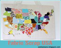 USA map fabric crafts