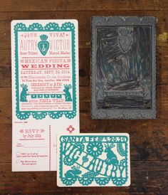 Linocut illustrated border with handset type for the wedding invitation, and illustrated and carved lino block for the Save the Date. Red and turquoise traditional letterpress wedding set! Mexican Fiesta! ¡Que Viva!