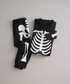 kids black glow-in-the-dark sleepy skeleton pj's