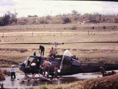 Washing a Huey Near Camp Radcliff, 1966