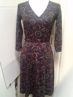Ann Taylor LOFT Black Wine Beige Paisley Floral Faux Wrap dress  S OOP #AnnTaylorLOFT #fauxwrap #WeartoWork