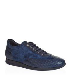 Crocodile Skin City Sneakers, Navy