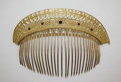 Comb tiara, 19th century, probably French, brass, glass, Overall: 4 1/4 x 6 1/4in. (10.8 x 15.9cm)