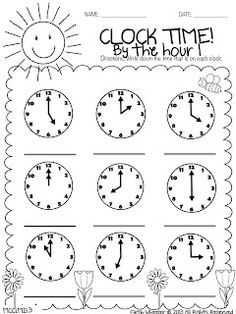 FREE telling time by the hour printable. FREE telling time by the hour printable. Teaching Time, Student Teaching, Math Classroom, Kindergarten Math, Preschool, Second Grade Math, Grade 1, Math School, Math Addition