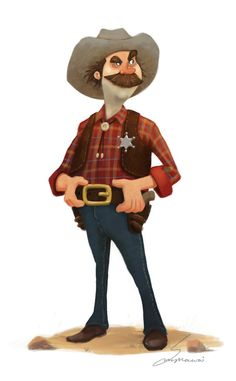 Sheriff by on DeviantArt Game Character Design, Character Development, Character Concept, Character Art, Concept Art, Sheriff, Cowboy Art, Country Art, Le Far West