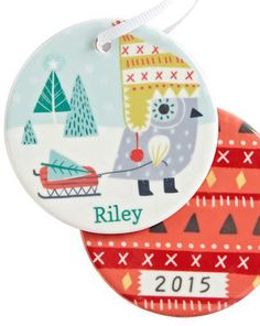 You Name It Ornament Land OF Nod by Sarah Wash with Hunter & Harpers names on them