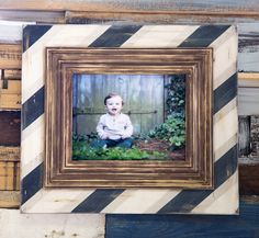 Rugby Stripe in Navy Distressed Rustic Picture Frame