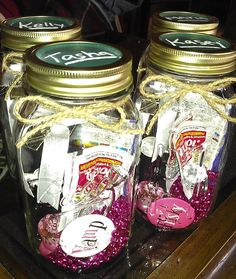 goodie mason jars for bachelorette party favors fully equipped with all the party essentials.