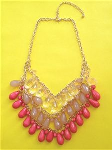 Coral Tear Drop Necklace #coral #statement #necklace #jewelry #accessorize #teardrop #gorgeous www.Shoplaurennicole.com